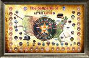 Houston Astros Ballpark Map Framed Collage w/Game Used Dirt