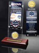UConn Huskies NCAA Champion Ticket & Bronze Coin Acrylic Desktop
