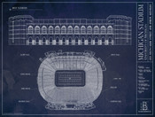 Michigan Wolverines - Michigan Stadium Blueprint Poster