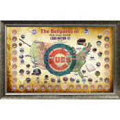 Chicago Cubs Ballpark Map Framed Collage w/Game Used Dirt
