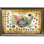 New York Mets Ballpark Map Framed Collage w/Game Used Dirt
