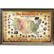 MLB Ballpark Map Framed Collage w/Game Used Dirt