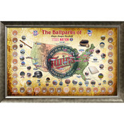 Minnesota Twins Ballpark Map Framed Collage w/Game Used Dirt