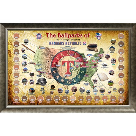 Map Of Texas Rangers Stadium.Texas Rangers Ballpark Map Framed Collage W Game Used Dirt The