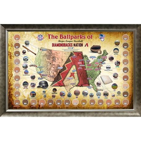 Map Of Arizona Diamondbacks Stadium.Arizona Diamondbacks Ballpark Map Framed Collage W Game Used Dir