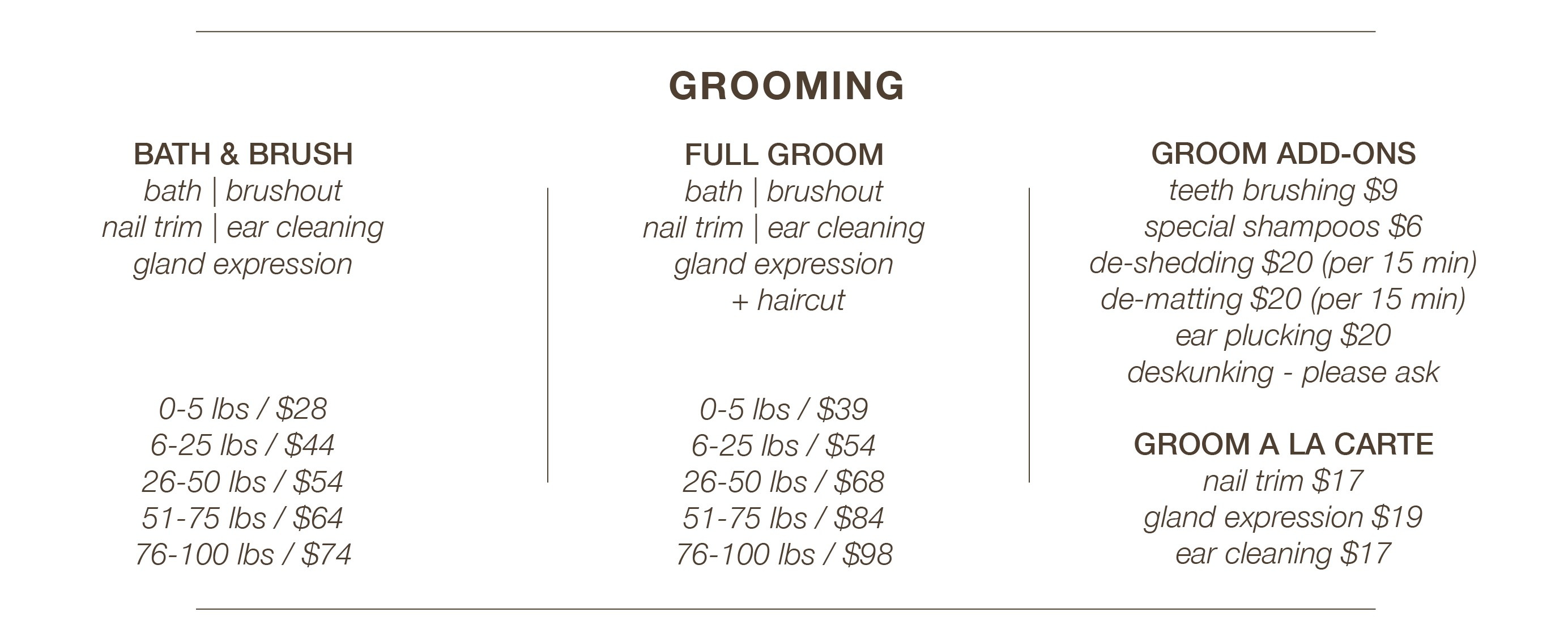 K9 Loft Grooming Prices
