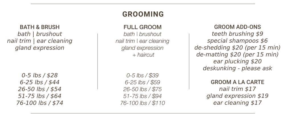 K9 Loft Grooming Prices