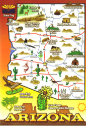 Arizona Map Postcard - Pack of 100