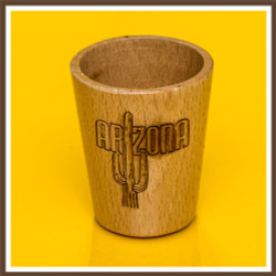 Wood Arizona Cactus Shotglass