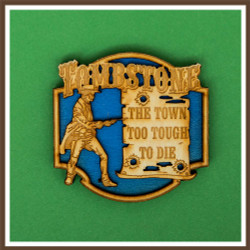 Tombstone Two Tone Wood Magnet