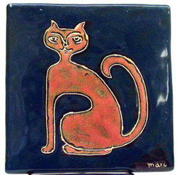 "Mara Tile Trivet 6""X6"" - Cat"