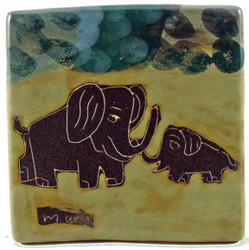 """Mara Tile Trivet 6""""X6"""" - Elephants"""