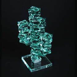 "3-Arm Stacked Glass Cactus 4"" w/Glass Base"