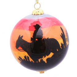 "Arizona Sunset Cowboy - 3"" Ornament Set of 2"