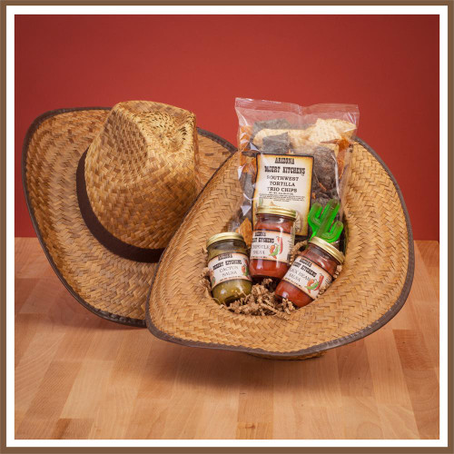 arizona salsa lovers cowboy hat gift basket