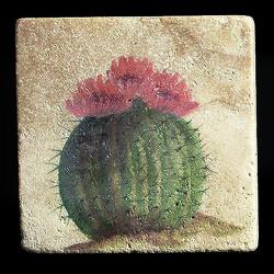 """Rustic Cactus #5 4""""x4"""" Deco Tile"""
