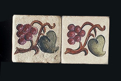 "Grape and Leaf 2""x2"" Border Tile"