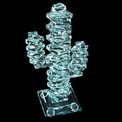 "Stacked Glass Cactus 7"" w/Glass Base"
