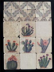 Cactus Collage Stone Tile - Sampler Display