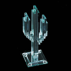 "Vertical Glass Cactus 8"" w/Glass Base"