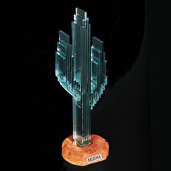 "Vertical Glass Cactus 12"" w/Sandstone"
