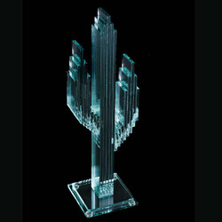 "Vertical Glass Cactus 15"" w/Glass Base"