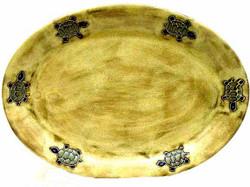 """Mara Oval Serving Platter 13"""" - Desert Turtle"""