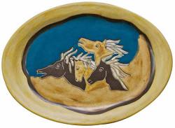 """Mara Oval Serving Platter 13"""" - Horses"""