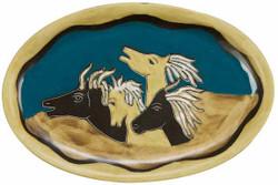 """Mara Oval Serving Platter 16"""" - Horses"""