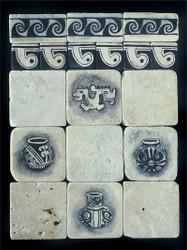 Panama Black & White Stone Tile - Sampler Display