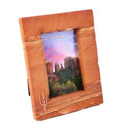 Sandstone Picture Frame w / Copper Saguaro - Portrait