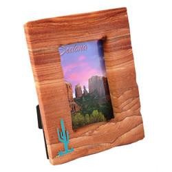 Sandstone Picture Frame w/Turquoise Saguaro - Portrait
