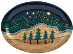 """Mara Oval Serving Platter 13"""" - Mountain Scene"""