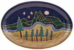 """Mara Oval Serving Platter 16"""" - Mountain Scene"""