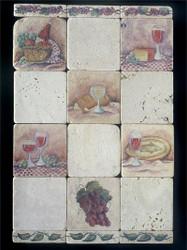 Old World Wine #1 Stone Tile - Sampler Display