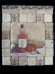 Old World Wine #2 Stone Tile - Sampler Display