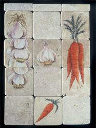 Garlic/Carrot Ristra Stone Tile - Sampler Display