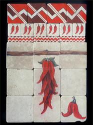Chili Ristra Stone Tile Display