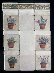 Herb Pots Stone Tile - Sampler Display