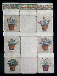 Herb Pots Stone Tile Display