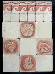 Sea Shells Stone Tile - Sampler Display