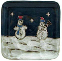 "Mara Square Plate 8"" - Snowman"