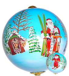 """Santa in the Mountains - 3"""" Ornament Set of 2"""