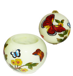 "Yellow Butterflies -3"" Votive Set of 2"