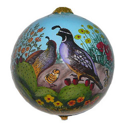 "Desert Quail - 3"" Ornaments Set of 2"