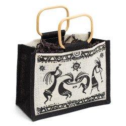 """This Dancing Kokopelli jute bag is made of cloth similar to burlap and features wooden ring handles. Measures approximately 9""""x6""""x5"""""""