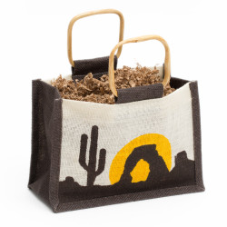 """This Arizona Desert Sunset jute bag is made of cloth similar to burlap and features wooden ring handles. Measures approximately 9""""x6""""x5"""" Minimum of 12 (Colors may vary)"""
