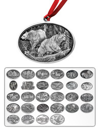 Horizontal Wildlife Pewter Ornament-Set of 4