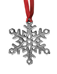 Snowflake Pewter Christmas Ornament - Set of 4