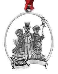 Carolers Pewter Christmas Ornament - Set of 4